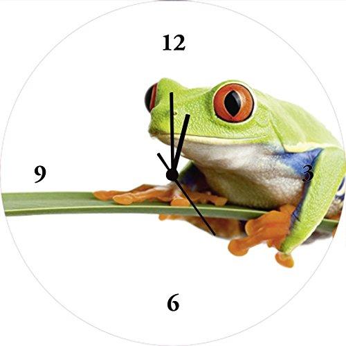 Artland Qualitätsuhren I Funk Wanduhr Designer Uhr Glas Funkuhr Größe: 35 Ø Wassertiere Frosch Weiß G3GL