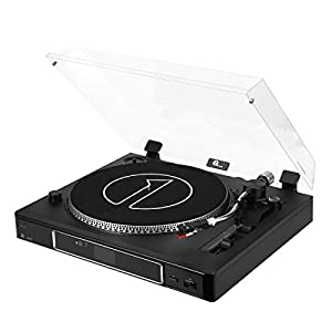 1byone 3-Speed Semi-Automatically Belt-Driven Turntable with Magnetic Cartridge, Adjustable Counterweight, USB Vinyl to MP3 Record Player