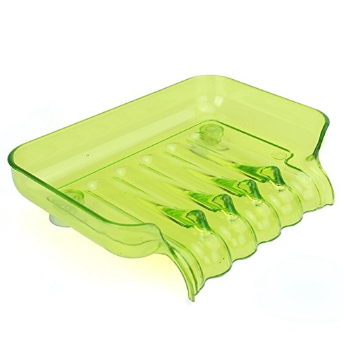 [Green] Colorful Flexible Waterfall Soap Holder Tray Drain Holder Bathroom Shower Soap Dish Tray Storage Four Color For Choose