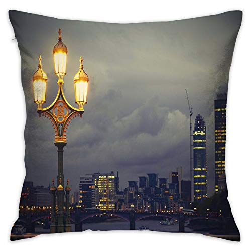 Uanlic Decorative Throw Pillows Covers with Insert,Westminster Bridge London City UK Stormy Moody Weather European Urban Travel,18x18 Inches Square Patio Cushions for Couch Bed Sofa Patio Furniture (Patio Square Uk Furniture Covers)