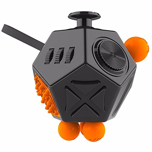 Fidget Dice II 12 Sides Anti-anxiety and Depression Toys with 360 Degree Active Rocker to Ease The Pressure, Relieves Stress and Increases Focus for Children and Adults - 3 Color (Black)