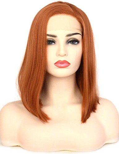 BLUPLE Short Bob Style Lace Front Wigs Copper Orange Natural Straight Synthetic Hair Side Part Heat Resistant Synthetic Full Wig for Women Girls (14 inches, Copper Orange)