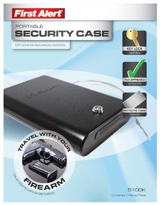 First Alert 5100K Portable Handgun Safe with Key Lock, TSA Approved