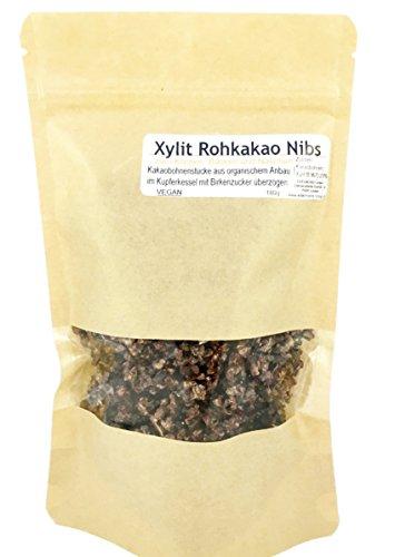 Edelmond Xylit Kakao Nibs. Frischer Rohkakao - Bruch nur 2 Zutaten! Gute, natürliche Bruchstücke - Ohne Zucker, für Diät & Diabetiker geeignet