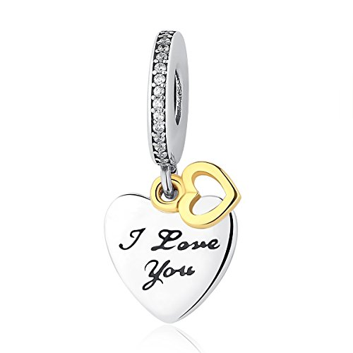 BAMOER 14K Gold Open Heart I Love You Forever Dangle Charms for Women Bracelet Necklace by BAMOER