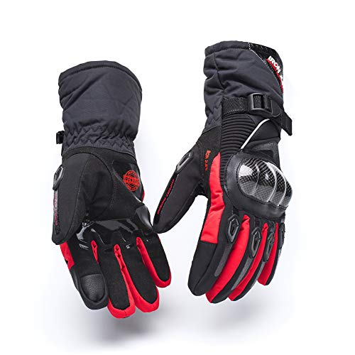 Motorcycle Winter Waterproof gloves Carbon Fiber Shell Racing Cycling Protection Accessories Support Touch Screen Red XL