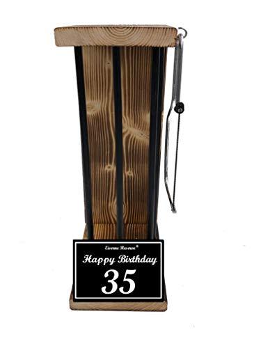 * Happy Birthday 35 Geburtstag - Eiserne Reserve ® Black Edition - Rohling zum SELBST BEFÜLLEN - Größe L - incl. Säge zum zersägen der Stäbe - Die Geschenkidee