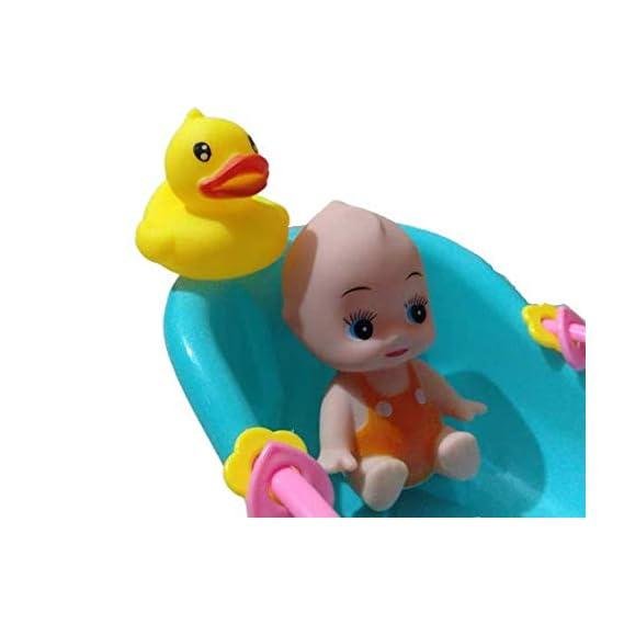 BabyBaba Bathtime Doll Bath Set Mini Whale Bathtub Plastic Toy with Pretend Play Games for Kids