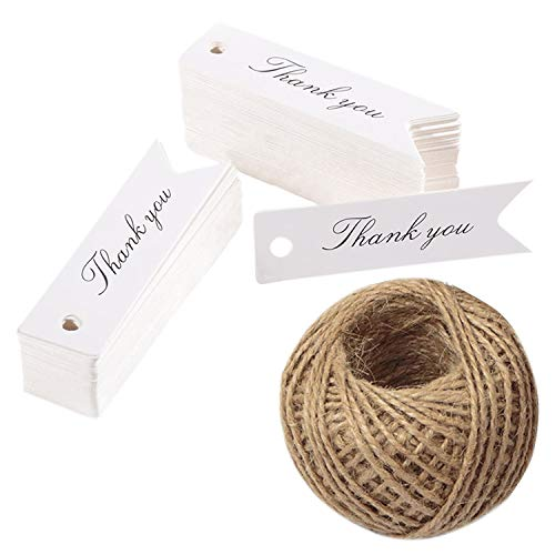 100PCS''Thank You''Printed Gift Tags,Small Kraft Paper Hang Labels, Thanksgiving Craft Tags for Wedding or Father's Day Favors with 100 feet Jute Twine (White) ()