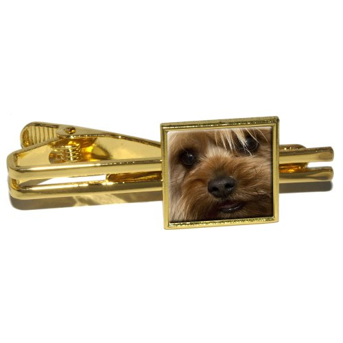 Yorkshire Terrier Yorkie Dog Square Tie Bar Clip Clasp Tack - Gold