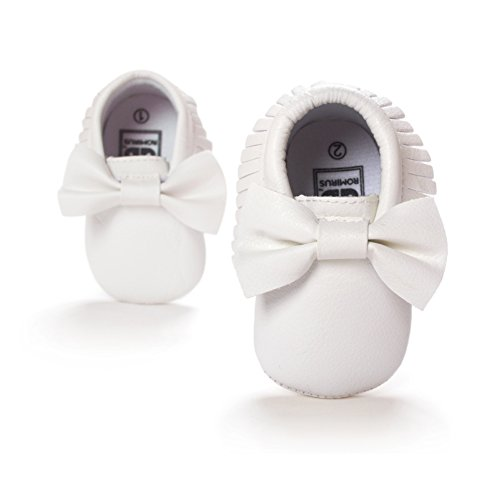 Norbi Baby Infant Toddler Bow Tassels Soft Sole Leather Shoes , 6-12 Months, #H- White