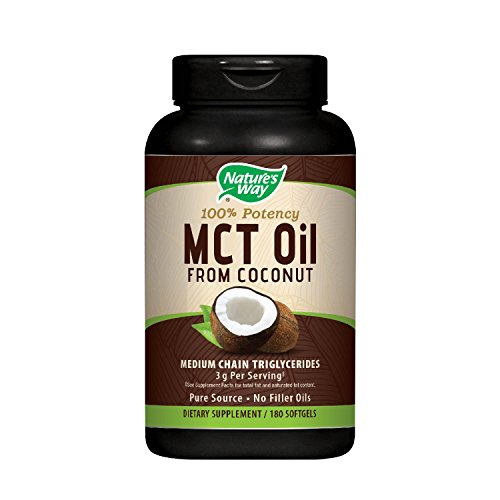 Nature's Way MCT Oil Softgels - 100% Potency, 1000mg of MCTs per softgel, Gluten-free, No Palm or Filler Oils, Hexane-free, Flavorless, Odorless - 180 softgels