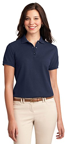 Port Authority Ladies Silk Touch Polo, Navy, Small