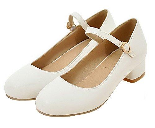 AgeeMi Shoes Damen Niedriger Absatz Schnalle PU Schließen Zehe Pumps Schuhe Weiß