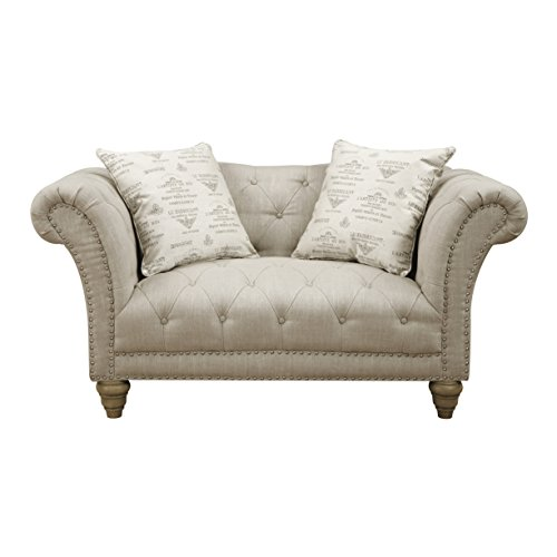 Emerald Home Hutton II Off White Loveseat, with Pillows, Button Tufting, Nailhead Trim, And Turned Legs