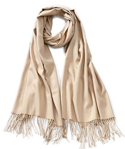Cindy & Wendy Large Soft Cashmere Silky Pashmina Solid Shawl Wrap Scarf for Women (Fine Wool Shawl)
