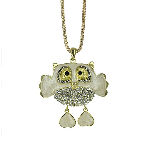 Twinkle Crystal Metal Pendant Necklace - Opera Fancy Owl (White) (Homemade Bird Costumes For Adults)