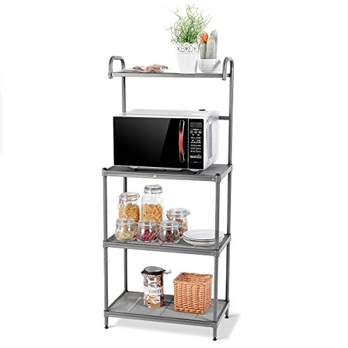 Globe House Products GHP 23.5''x14''x54'' Kitchen Microwave Oven Stand Baker's Rack with Top & Bottom Shelves by Globe House Products