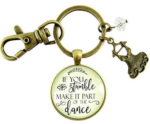 (Inspirational Keychain If You Stumble Make It Part of The Dance Mantra Glam Quote Jewelry For Women Tutu Charm )