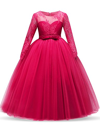 NNJXD Girl Lace Tulle Floor Length Bridesmaid Dance Ball Gown Dress Size (170) 13-14 Years Rose