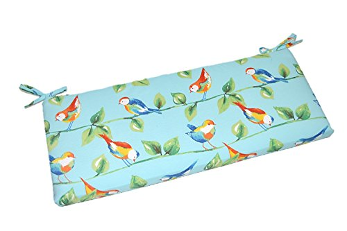 Indoor / Outdoor Richloom Solar Outdoor Sky Blue Curious Birds 2'' Thick Foam Swing / Bench / Glider Cushion with Ties and Zipper - Choose Size (41'' x 20'') by Resort Spa Home Decor