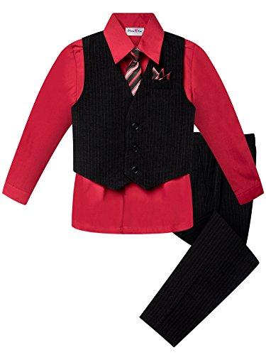 (OLIVIA KOO Boy's Colored Shirt Pinstripe 4 Piece Pinstriped Vest Set Size Infant-Boy)