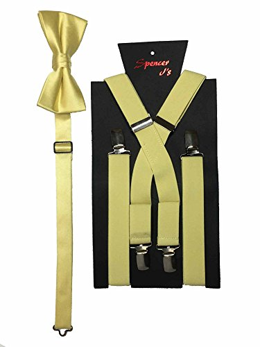 Spencer J's Men's X Back Suspenders & Bowtie Set Verity of Colors -