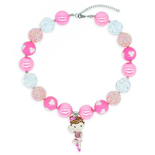 Card Flat Ballerina (BUENAVO Chunky Bubblegum Necklace Ballerina Dancing Girl Pendant Fashion Beads Baby Jewelry Children Necklace Birthday Outfit with Gift Box and Greeting Card (Rose))