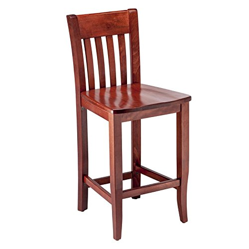 Beechwood Mountain BSD-34B24-M Solid Beech Wood Counter Stool in Mahogany for Kitchen & Dining, NA ()