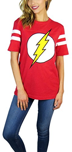 Hybrid DC Comics Womens Flash Varsity Football Tee Red Heather (Large, Red)