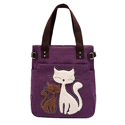 Black Deals Friday Cyber Deals Monday Deal Valentoria Cute Cat Design Multifunction Women's Canvas Zipper Closure Handbag Shoulder Lunch Tote Bag with Large Capacity Best