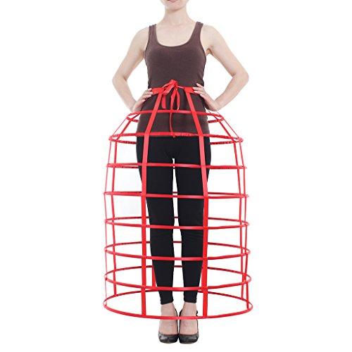 Crinoline Victorian (DUNHAO COS Women's Crinoline Victorian Dress Bustle Dome Cage Skirt (Red))