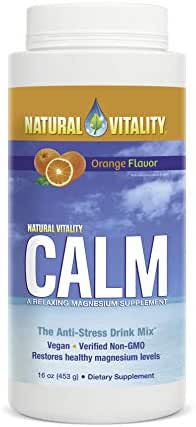 Natural Vitality Calm, The Anti-Stress Drink Mix, Magnesium Supplement Powder, Orange- 16 ounce