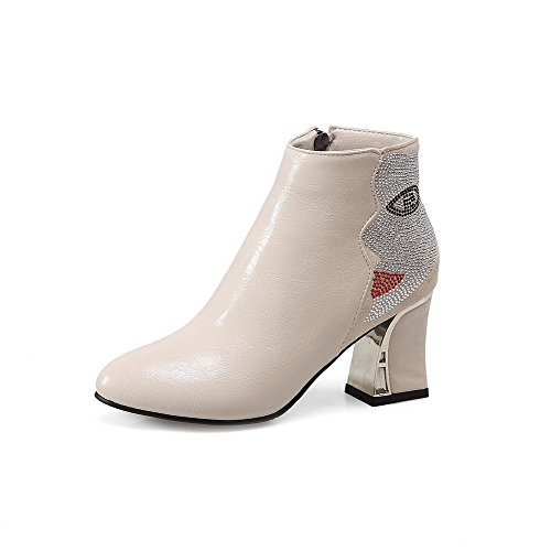 Closed Blend Ankle Boots High Women's Heels High Toe Zipper Round Beige Materials AmoonyFashion qpt0x