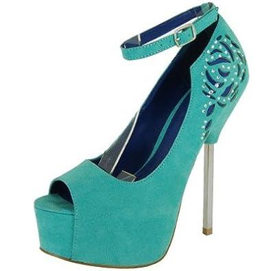 f383ec676f80 Qupid Women s Black Peep Toe Cut Out Platform Sandal Pump Size 7.0  (Miriam74)