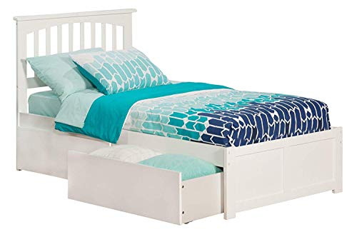 Atlantic Furniture AR8722112 Mission Platform Bed with 2 Urban Bed Drawers, Twin, White