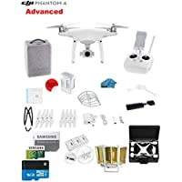 DJI Phantom 4 ADVANCED Quadcopter Drone with 1-inch 20MP 4K Camera KIT + 32GB Micro SDXC Card + Card Reader 3.0 + Prop Guards + Charging Hub + Range Extender + Harness + Hardcase