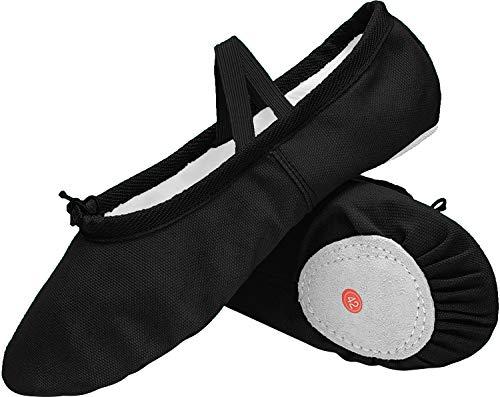 L-RUN Kids/Womens Ballet Shoes Dance Yoga Gym Performance Canvas Flats Black
