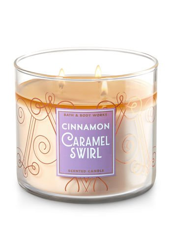 Bath & Body Works Candle 3 Wick 14.5 Ounce Cinnamon Caramel (Caramel Candles)