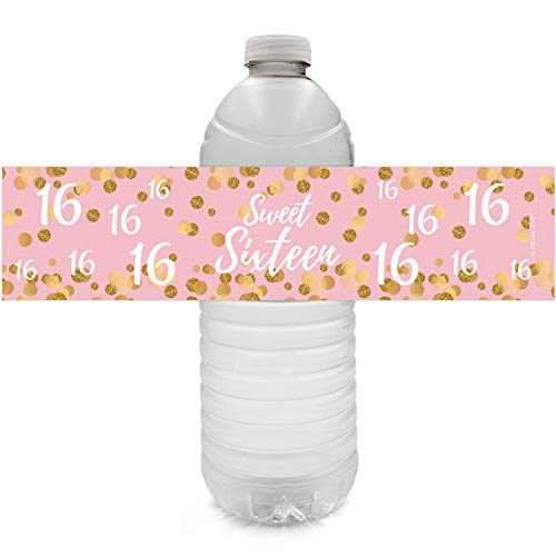 Pink and Gold 16th Birthday Sweet Sixteen Party Water Bottle Labels, 24 Stickers]()
