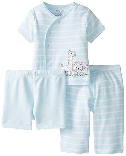 Little Me Baby-Boys Newborn Safari 3 Piece Diaper Set, Light Blue Stripe, 9 Months