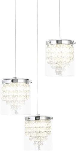 Auffel Modern Crystal Chandeliers LED 3 Light Round Island Pendant Light Clear Glass K9 Crystal Chrome Metal,Adjustable Height,ETL Listed