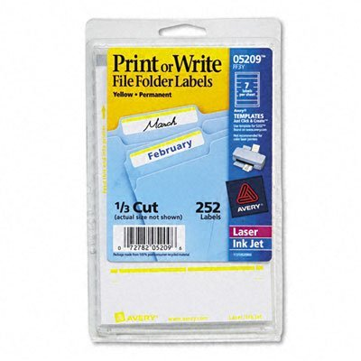 Avery 05209 Print or Write File Folder Labels, 1/3 Cut, Yellow Bar, 252/Pack ()