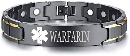 XUANPAI Free Custom Engraved Stainless Steel Magnet Therapy Medical Alert ID Bracelet for Men,Adjustable