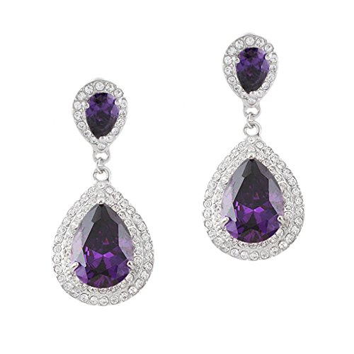 - EVER FAITH Austrian Crystal CZ Wedding 2 Teardrop Pierced Dangle Earrings Amethyst Color Silver-Tone