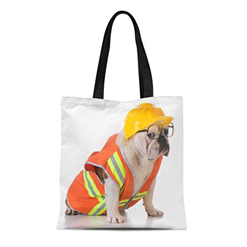 Semtomn Cotton Canvas Tote Bag Orange Working Dog Bulldog Dressed Up Like Construction Worker Reusable Shoulder Grocery Shopping Bags Handbag Printed]()