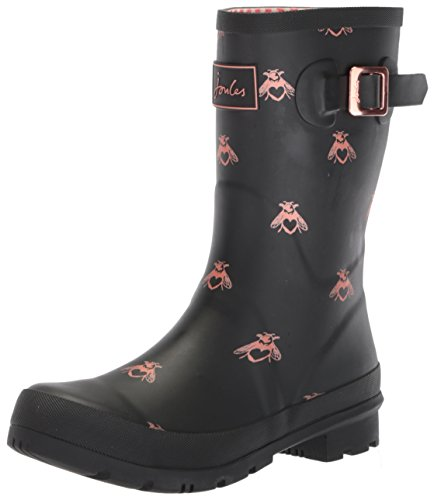 Joules Women's Mollywelly Rain Boot, Black Love Bees, 9 Medium US by Joules (Image #1)