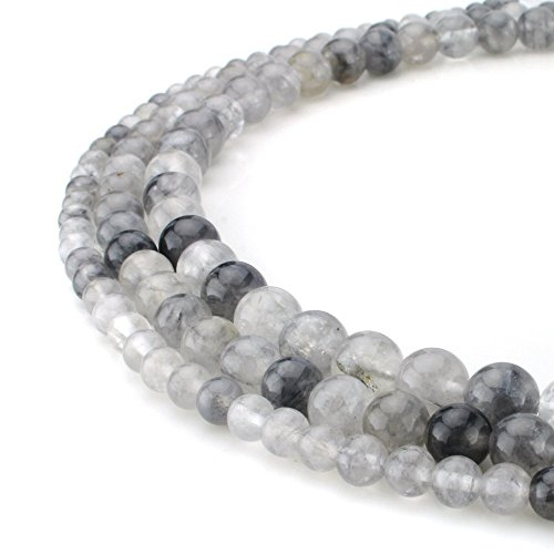 - RUBYCA Wholesale Natural Cloudy Quartz Gemstone Round Loose Beads for Jewelry Making 1 Strand - 10mm