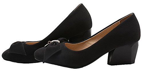 On Women's VogueZone009 Closed Toe PU Kitten Square Shoes Heels Pull Solid Black Pumps SqEdrE