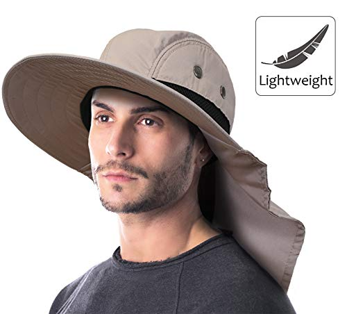 8d87d136c7f Outdoor Fishing Hat with Ear Neck Flap Cover Wide Brim Sun Protection Safari  Cap for Men Women Hunting
